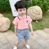 男童短袖洋氣兒童夏裝男寶寶t恤純棉polo衫夏季半袖粉色小童上衣 米娜小鋪