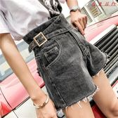 牛仔短褲女韓版寬鬆高腰闊腿褲短褲