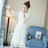 [618好康又一發]白色蕾絲連衣裙溫柔高腰鏤空內搭仙女裙