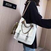 帆布包 大容量帆布包包女2019新款韓版原宿ulzzang大學生上課單肩斜背包 玫瑰