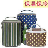 圓形飯盒袋鋁箔裝碗小號便當保溫桶袋子套防水大號手提加厚帶飯包「韓風物語」