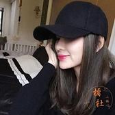 棒球帽秋冬顯臉小百搭休閒鴨舌帽純色遮臉帽子【橘社小鎮】