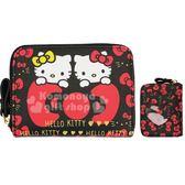 〔小禮堂〕Hello Kitty 皮質拉鍊短夾零錢包《黑紅.mimmy》皮包.皮夾 4582135-13145