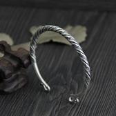 純銀手環(泰銀)-做舊扭紋生日情人節禮物女手鐲73gg148【時尚巴黎】