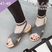 大尺碼女鞋-凱莉密碼-時尚潮流款瑪莉珍交叉款平底羅馬涼鞋1cm(41-48)【XL3-5】灰色