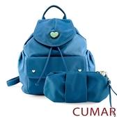 CUMAR 愛心logo防潑水尼龍水桶後背包-藍色(贈藍小包)
