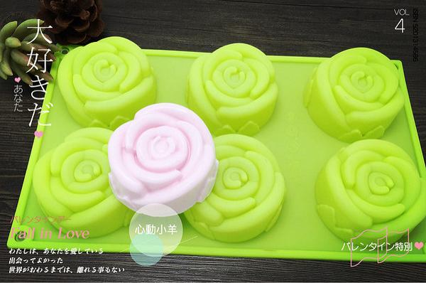 心動小羊^^六連精緻 玫瑰手工皂模 婚禮小物模.巧克力模 製冰模 香磚模 六連 6孔