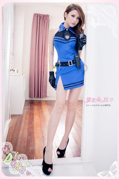 女警 制服 COSPLAY 削肩鎖骨美背式開岔連身裙-愛衣朵拉