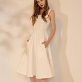 洋裝-無袖秋季白色修身中長款女連身裙73pu52[巴黎精品]