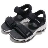Skechers 涼鞋 D Lites-Cosmic Splash 黑 白 魔鬼氈 吸震中底 女鞋 大童鞋 涼拖鞋【PUMP306】 996334LBKW
