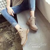短靴馬丁靴女英倫風復古短靴學生韓版單里高筒鞋粗跟潮 果果輕時尚