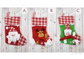 節慶王【X421402 】13 吋格子針織布聖誕襪3 款老公公麋鹿雪人,聖誕節掛飾裝飾聖誕襪