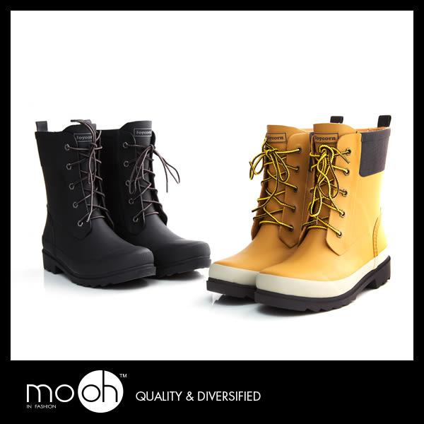 雨鞋雨靴  歐美 時尚 金屬扣 綁帶 馬丁鞋 機車靴 防水 登山鞋 大尺碼雨靴 mo.oh (歐美鞋款)