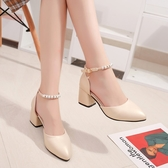 粗跟高跟鞋女新品串珠水鉆中跟涼鞋百搭中空單鞋一字扣帶女鞋