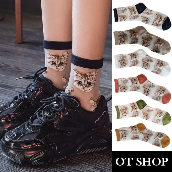 OT SHOP [現貨] 襪子 透膚絲襪 玻璃襪 中筒襪 貓咪圖案 潮流個性 日韓系 黃/草綠/磚紅/白/米/黑 M1068