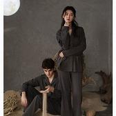 提花情侶睡衣春秋季長袖寬松家居服男女士可外穿開衫韓版兩件套裝 【快速出貨】