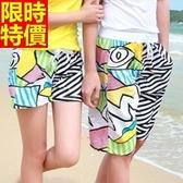 情侶款海灘褲(單件)-防水衝浪彩色拼接塗鴉設計男女沙灘褲66z23[時尚巴黎]