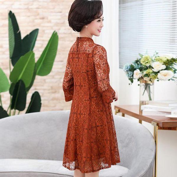 媽媽禮服媽媽裝中長版胖MM寬鬆晚禮服蕾絲連身裙大碼女裝 優樂居