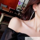 氣質流蘇耳環女時尚長款925銀針耳釘韓國圓圈耳墜個性夸張耳飾女 韓慕精品