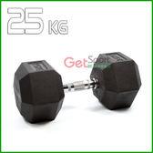 六角包膠啞鈴25公斤(25kg/舉重/深蹲/重量訓練/伏地挺身器/肌力訓練/二頭肌/胸肌)_0