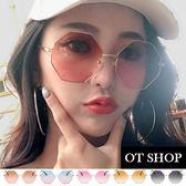 OT SHOP太陽眼鏡‧復古不規則金屬框抗UV400墨鏡‧黑灰/淺茶/海洋粉/茶粉/藍粉漸層‧現貨‧U76
