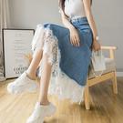 VK精品服飾 韓國風名媛長版蕾絲花邊拼接牛仔單品半身裙