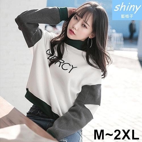 【V2198】shiny藍格子-韓雜街頭.撞色拼接字母刷毛長袖上衣