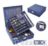 首飾盒首飾盒雙層絨布歐式木質日系公主家居帶鎖裝飾品化妝女收納盒聖誕交換禮物