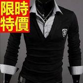 假兩件式襯衫 日系率性-質感造型長袖男毛衣3色59ac22【巴黎精品】