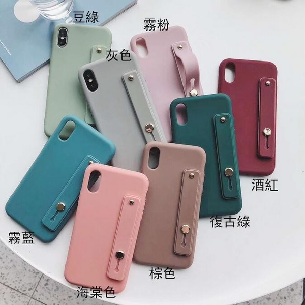糖果腕帶殼 iPhone SE2 XS Max XR i7 i8 i6 i6s plus 手機殼 簡約手腕帶 保護殼保護套 加厚TPU磨砂軟殼