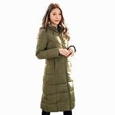 修身--保暖立領連帽拉鍊口袋A字顯瘦舖棉長版外套(黑.紅.綠L-3L)-J261眼圈熊中大尺碼