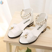 涼鞋 女童涼鞋2020款學生珍珠舞蹈鞋粉平底白色公主鞋小高跟表演鞋