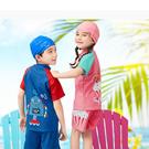 新款粉藍黃兒童兩件式泳衣(附贈同款帽子)