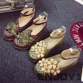 新款日系復古圓頭娃娃鞋學院風搭扣鬆糕底鞋小清新可愛圓頭女鞋
