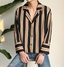 FINDSENSE MD 時尚 男 韓國 休閒 寬鬆 條紋 襯衣外套 條紋襯衫