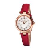 【Folli Follie】Lady Bubble極緻晶耀真皮時尚腕錶-胭脂紅/WF16R009SPS_DR/台灣總代理公司貨享兩年保固