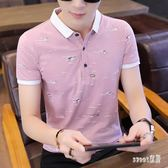 POLO衫男士短袖T恤個性新款翻領薄款體恤衫韓版衣服 JY2925【Sweet家居】