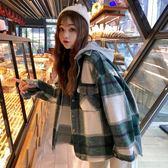 毛呢外套新款韓版小個子呢子外套上衣寬松連帽長袖格子毛呢大衣女「爆米花」