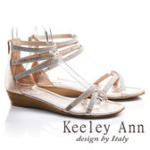 ★零碼出清★Keeley Ann極簡細鑽帶鉚釘真皮楔形涼鞋(玫瑰金色)