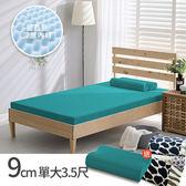House Door 吸濕排濕9cm藍晶靈涼感記憶床墊全配組-單大青碧藍