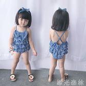 兒童泳裝 嬰幼兒女連身寶寶學生裙式小兒童可愛孩子海軍學生分體游泳衣 綠光森林
