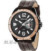 POLICE 自信風範時尚皮革手錶/黑X玫瑰金