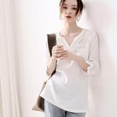 刺繡襯衫 純棉短袖T恤女夏季重工刺繡寬鬆顯瘦遮肚子洋氣小衫上衣-Ballet朵朵