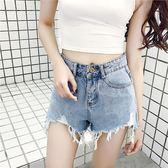 夏裝新款復古百搭割破洞撕邊流蘇高腰闊腿牛仔短褲熱褲女裝潮