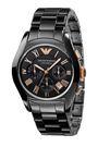EMPORIO ARMANI亞曼尼陶瓷計時碼錶-AR1410-黑陶