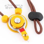 〔小禮堂〕Hamee 迪士尼 小熊維尼 防失手機頸帶《黃.大臉.蜜蜂》 4522327-15777
