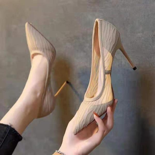 蕾絲鞋 網紗鞋女夏季裸色高跟鞋2021年新款閃逸大東尖頭蕾絲細跟氣質單鞋 格蘭小鋪