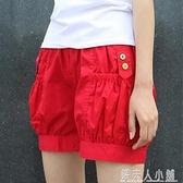 短褲女夏寬鬆外穿高腰新大碼休閒家居紅色棉布熱褲五分燈籠褲 夏季特惠
