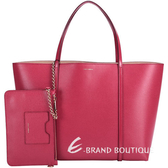 DOLCE & GABBANA ESCAPE 壓紋牛皮購物包(大/紅色) 1440706-54