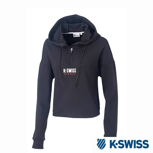 K-SWISS Hooded Sweat Half Zip up時尚連帽上衣-女-黑